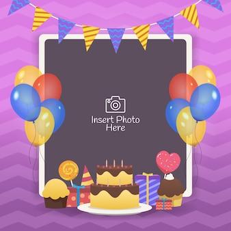 Cornice decorativa compleanno con palloncini colorati, torte di compleanno e confezione regalo