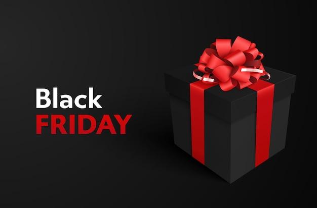 Scatola regalo nera decorativa con fiocco rosso