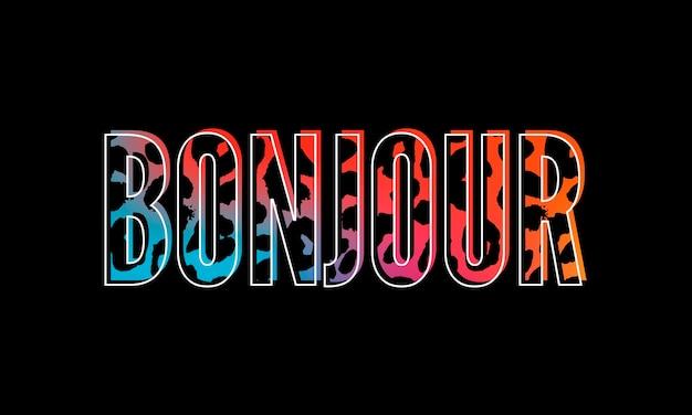 Testo decorativo bonjour hello slogan con sfondo di pelle di leopardo