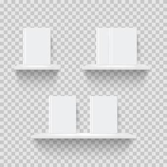 Scaffali decorativi illustrazione realistica scaffali 3d con libri in bianco su sfondo trasparente