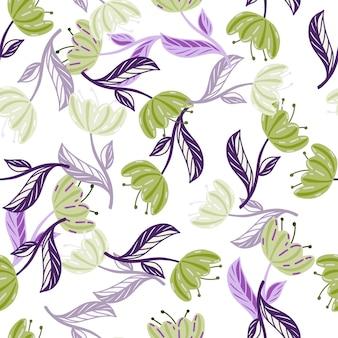 Motivo decorativo botanico senza cuciture con stampa di fiori di papavero verde e viola scarabocchiati