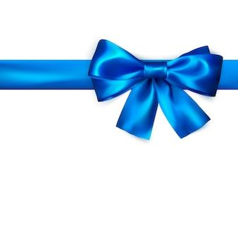 Fiocco decorativo con nastro blu orizzontale.
