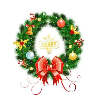 Ghirlanda di natale decorativa con fiocco, caramelle, palline ed elemento decorativo. illustrazione vettoriale isolato ghirlanda di natale