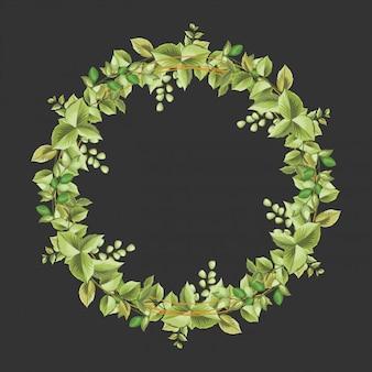 Cornice decorativa cerchio con ornamenti floreali e foglie Vettore Premium