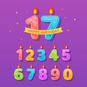 Testo di numero di compleanno colorato decorativo