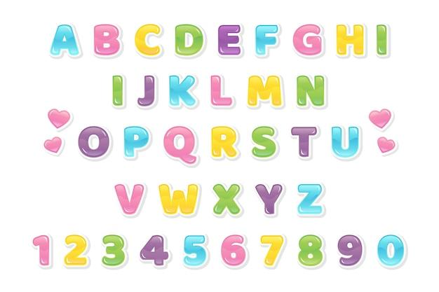 Carattere colorato decorativo e alfabeto