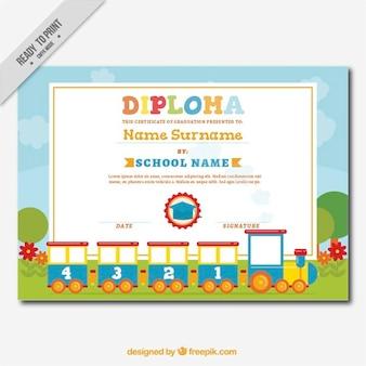 Diploma decorativo per i bambini con un treno fantastico