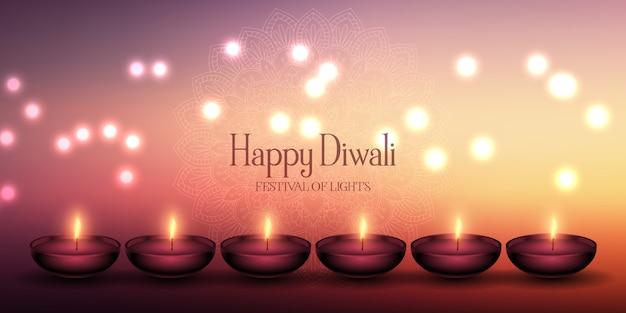 Design decorativo di banner di lampade diwali