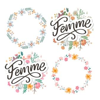 Iscrizione di testo decorativo femme con ghirlanda floreale