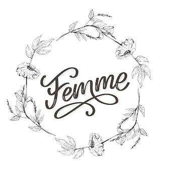 Iscrizione di testo decorativo femme