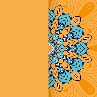 Cornice floreale mandala floreale sull'arancia