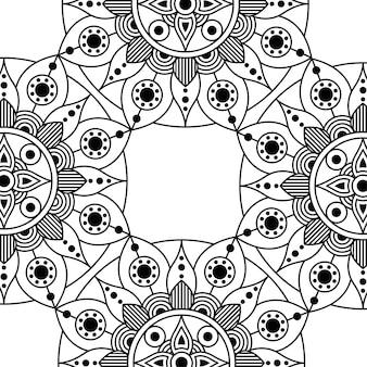 Design floreale decorativo monocromatico mandala etnia telaio illustrazione vettoriale