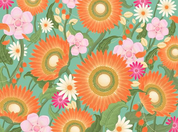 Sfondo di fiori decorativi, girasoli e fiori di campo in stile di ombreggiatura incisione in tono colorato