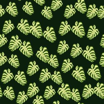 Modello senza cuciture decorativo fogliame con elementi monstera foglia di palma casuali. sfondo scuro. fondale decorativo per il design del tessuto, stampa tessile, avvolgimento, copertina. illustrazione vettoriale.