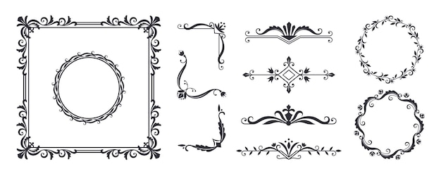 Elementi decorativi del telaio. design monogramma vintage