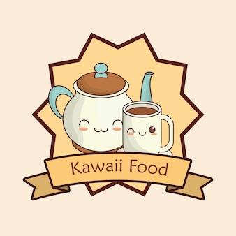 Cornice decorativa e nastro con teiera kawaii