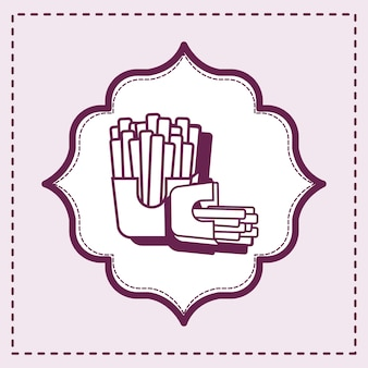 Cornice decorativa con icona di patatine fritte su sfondo viola