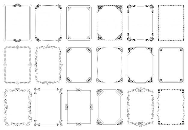 Cornici decorative. cornice ornamentale retrò, ornamenti rettangolo vintage e set bordo ornato