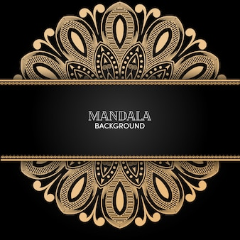 Vettore decorativo dell'ornamento della mandala dell'oro con fondo nero Vettore Premium