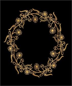 Ghirlanda decorativa in oro con motivi floreali. cornice dorata estiva con fiori e foglie. illustrazione vettoriale isolato.