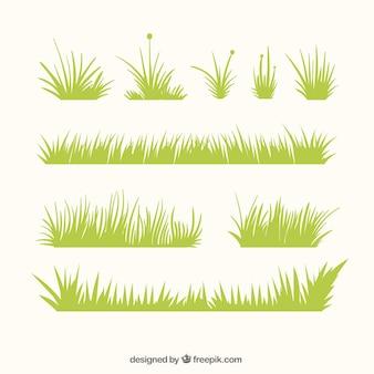 Confini erba decorativi con diversi disegni