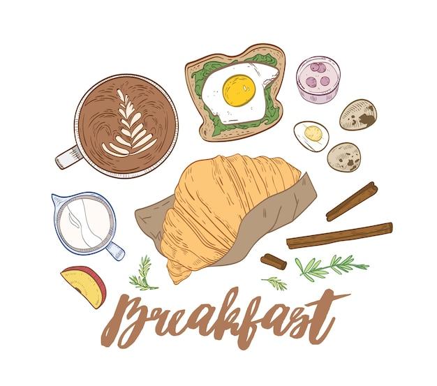 Composizione disegnata a mano decorativa con appetitosi pasti per la colazione e cibo mattutino