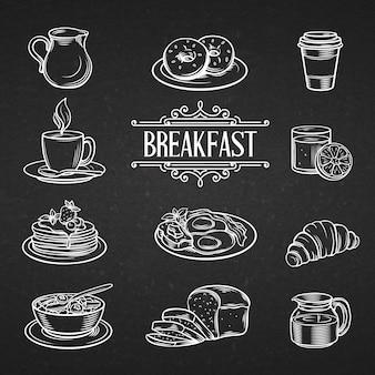 Alimenti di prima colazione disegnati a mano decorativi delle icone