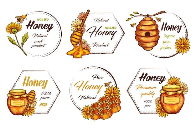 Etichette decorative per cornice vintage di prodotti a base di miele