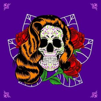 Illustrazione decorativa del messico del giorno dei morti con la testa del teschio della signora
