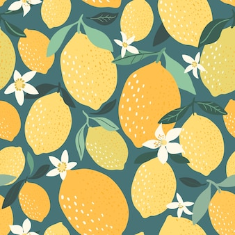 Modello senza cuciture decorativo limone con elementi disegnati a mano