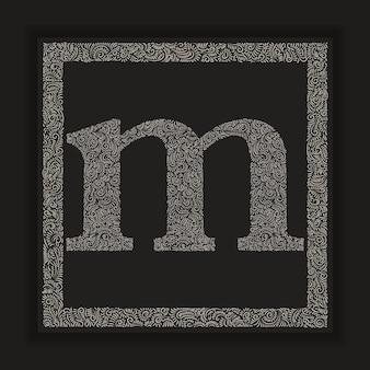 Alfabeto decorativo lettera m monogramma logo vector