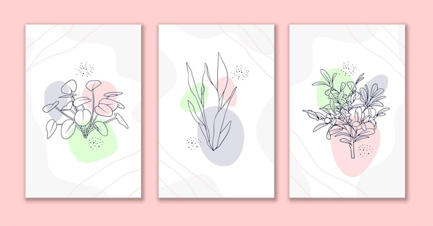 Set di poster artistici con fiori e foglie di linea decorativa a