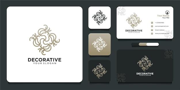 Design del logo decorativo con stile al tratto e biglietto da visita
