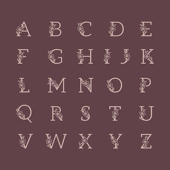 Insieme di alfabeto di lusso decorativo matrimonio logo