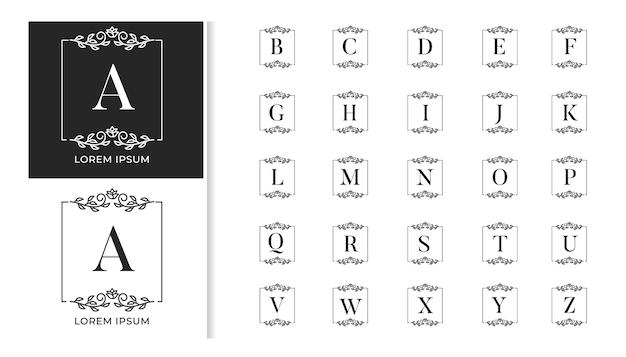 Insieme di alfabeto di lusso decorativo matrimonio monogramma logo