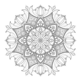 Ornamento decorativo mandala con disegno floreale di contorno