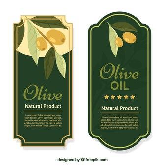 Decorativi etichette di olio di oliva in stile vintage