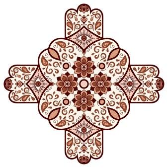 Ornamento decorativo in stile etnico orientale. marrone