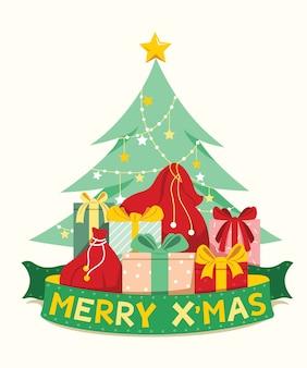 L'albero di pino decorativo con mucchio di regali e bandiera a nastro di parole di buon natale per gli elementi di natale