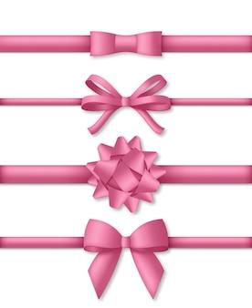 Fiocco rosa decorativo con illustrazione di nastri