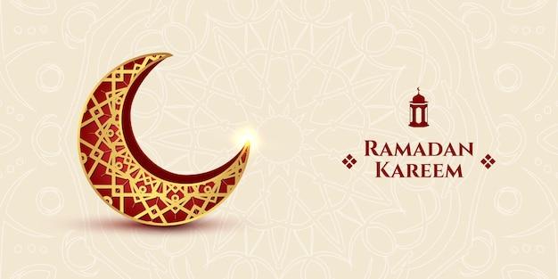 Carta islamica decorativa di ramadan kareem con sfondo di luna crescente