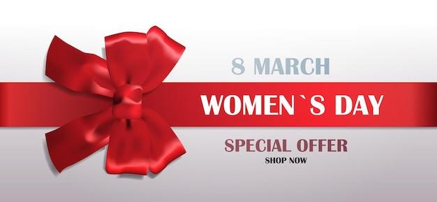 Fiocco rosso decorativo con nastro womens giorno 8 marzo vacanza vendita offerta speciale concetto biglietto di auguri poster o flyer illustrazione orizzontale