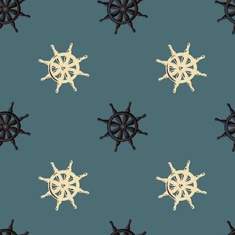 Modello senza cuciture marinaio decorativo con ornamento ruota nave beige e nero. fondo pallido blu navy.
