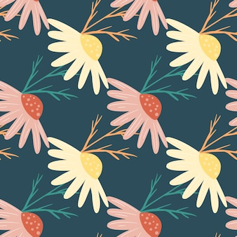 Motivo decorativo senza cuciture con stampa di fiori di camomilla scarabocchiati