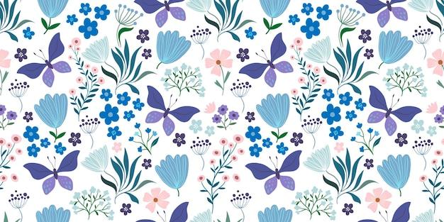 Motivo decorativo senza cuciture con fiori e farfalle