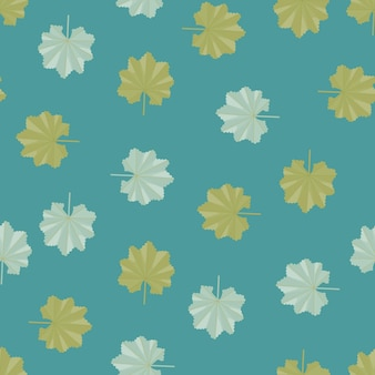 Motivo decorativo senza cuciture con forme di foglie esotiche scarabocchiate casuali verdi