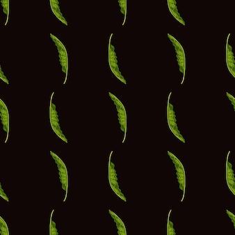 Motivo decorativo senza cuciture con forme di foglie di palma verde disegnate a mano. contesto della giungla botanica.