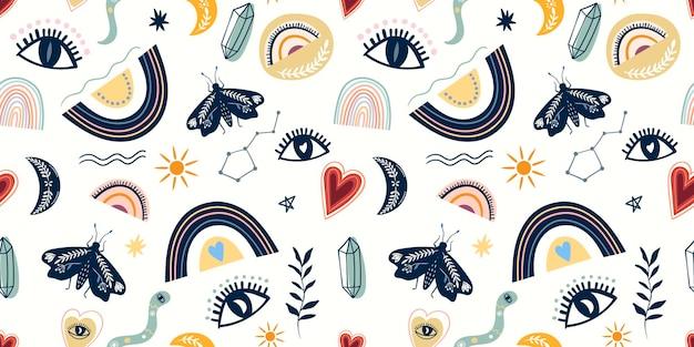 Modello senza cuciture decorativo con elementi misteriosi, occhi, luna, falena e arcobaleni
