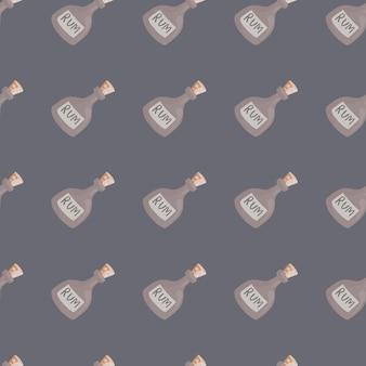 Motivo decorativo senza cuciture con forme di bottiglia di rum pallido pastello. sfondo viola. ornamento di alcol. progettato per il design del tessuto, la stampa tessile, il confezionamento, la copertura. illustrazione vettoriale.