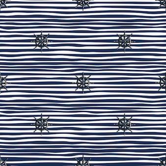 Modello senza cuciture decorativo con elementi del timone della nave. sfondo blu navy a righe. stile semplice.